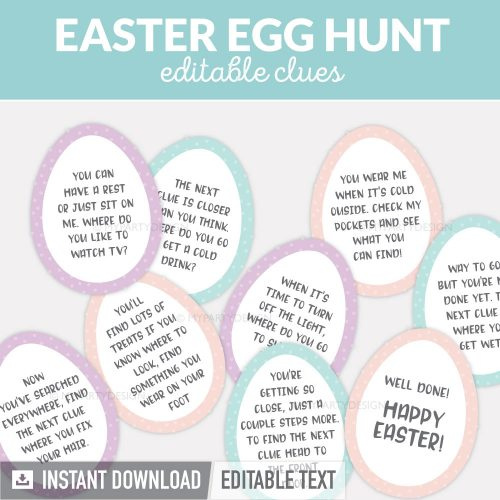 Easter egg hunt clues for a kids scavenger hunts