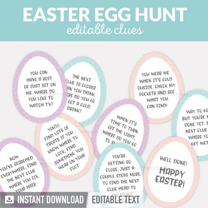 Easter egg hunt clues for a kids scavenger hunts