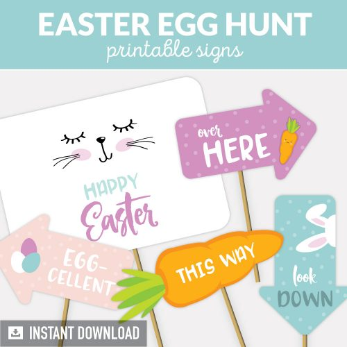 Easter egg hunt signs, printable signs for outdoor egg hunt