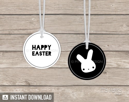 happy easter black and white gift tags
