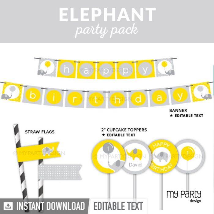 elephant party decoration printables
