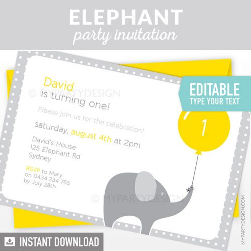 yellow and grey elephant birthday invitation