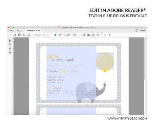 elephant party invitation - editable printable invite