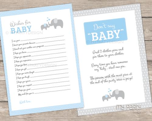 blue elephant baby shower games