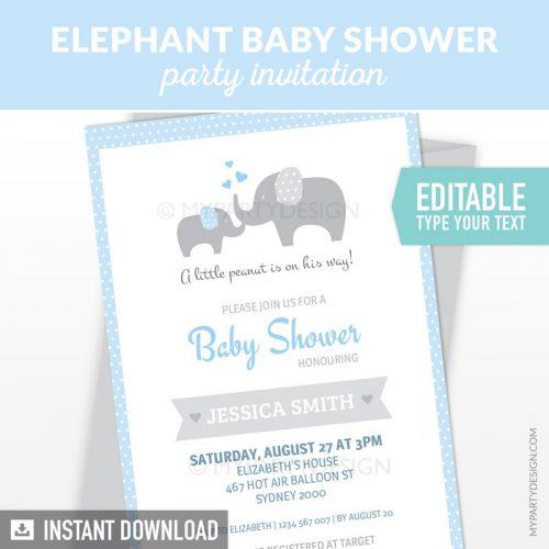 blue elephant baby shower invitation printable and editable