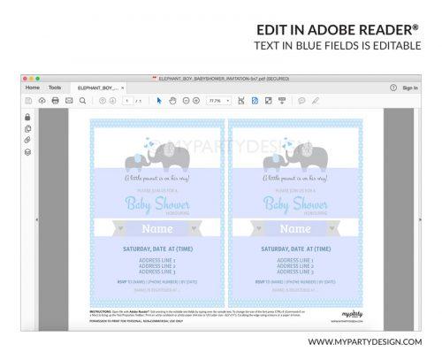 blue elephant baby shower party invitation - editable printable invite