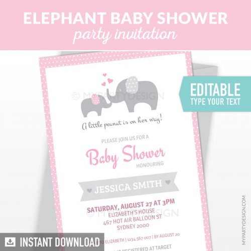 pink elephant baby shower invitation printable and editable