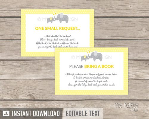 printable yellow elephant baby shower book insert card