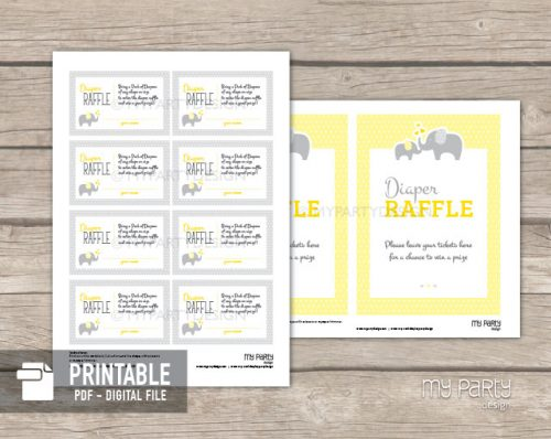 printable diaper raffle tickets and sign yellow elephant theme