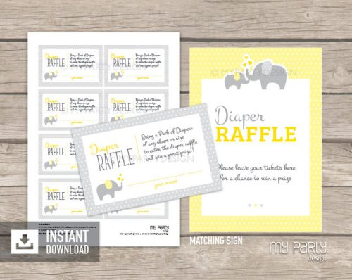 yellow elephant printable diaper raffle tickets and sign