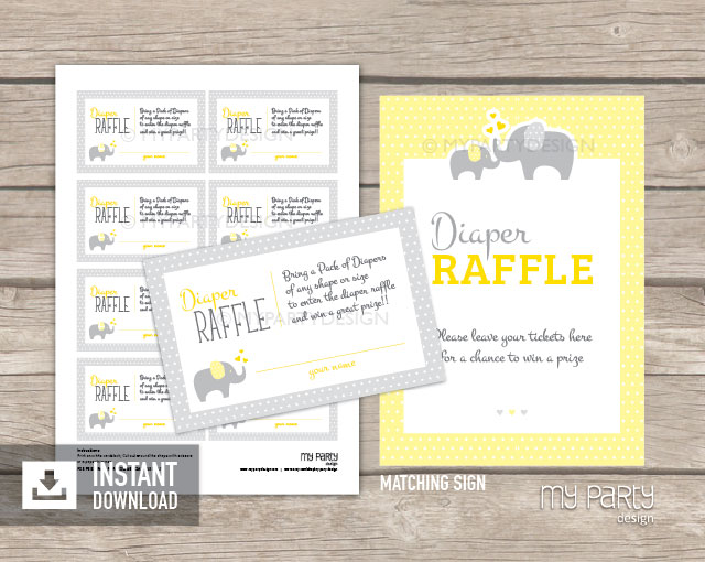 Elephant Yellow Baby Shower Printable Diaper Raffle Tickets