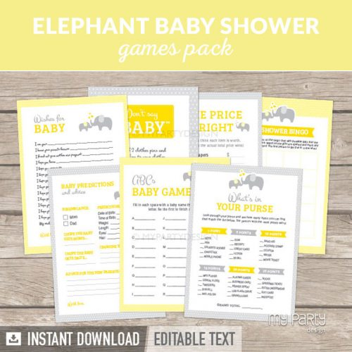 Yellow Elephant Baby Shower Games Printables