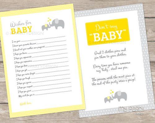 gender neutral elephant baby shower games