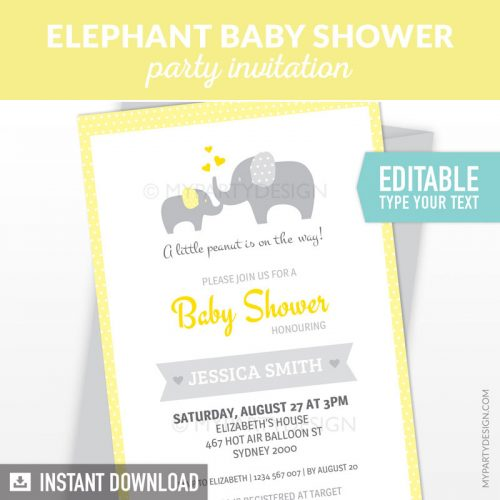yellow elephant baby shower invitation printable and editable