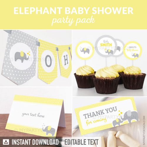 yellow elephant baby shower party decoration printables