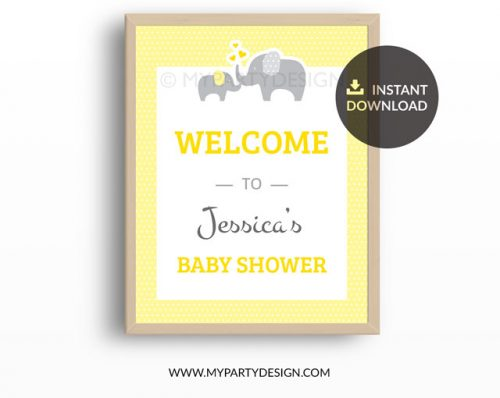 yellow elephant baby shower welcome sign printable