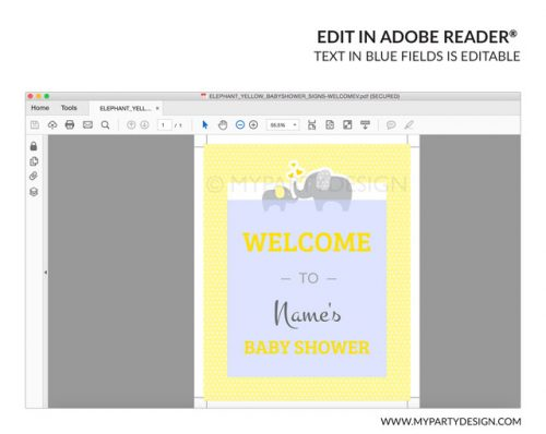 printable yellow elephant baby shower welcome sign