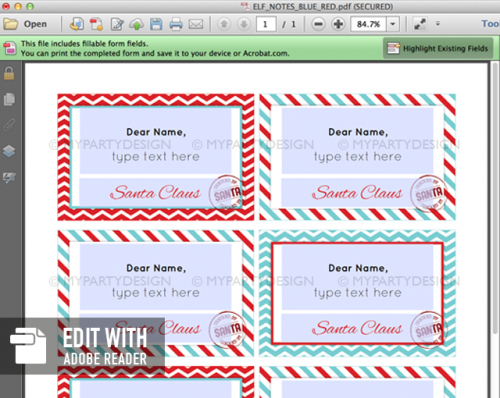editable elf notes printable
