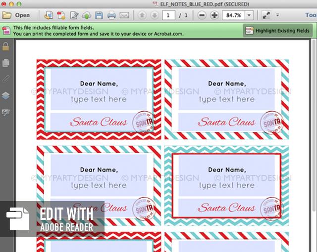 editable elf notes printable
