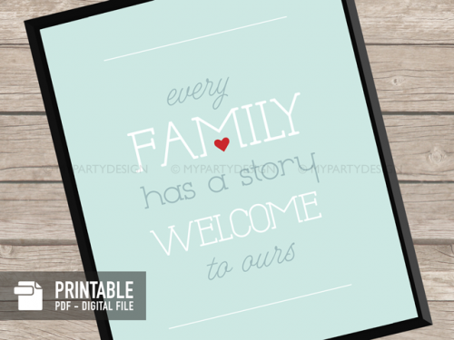 every family has a story printable quote print