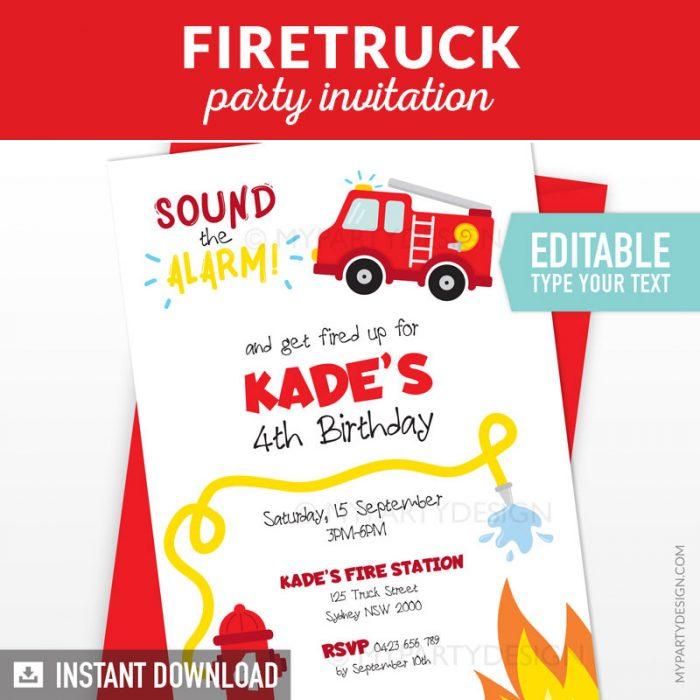 firetruck party invitation printable