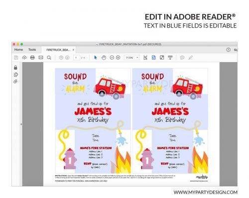 firetruck party invitation printable editable invite