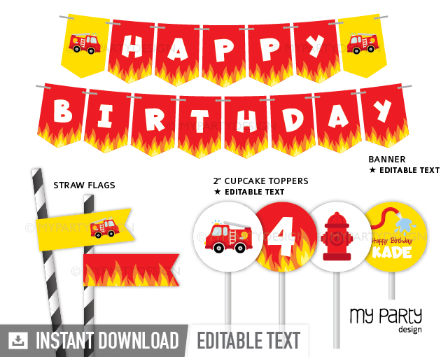 firetruck party decoration printables