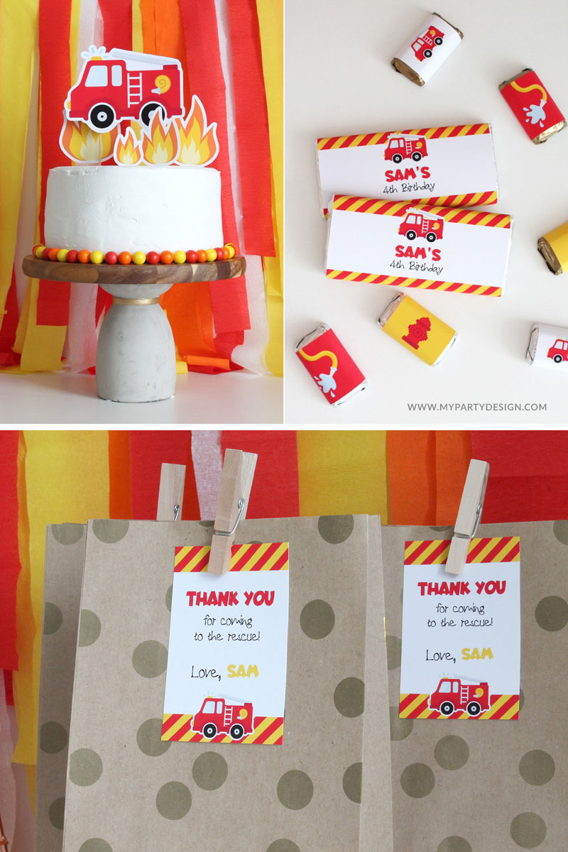 Firetruck Cake Topper and party favors