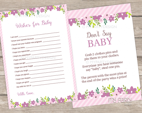printable floral baby shower games