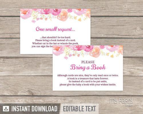 pink floral baby shower book insert