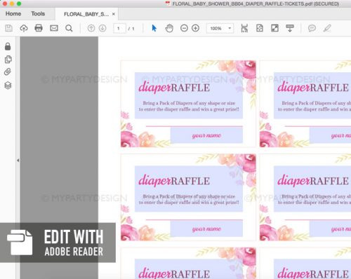editable pink floral baby shower diaper raffle