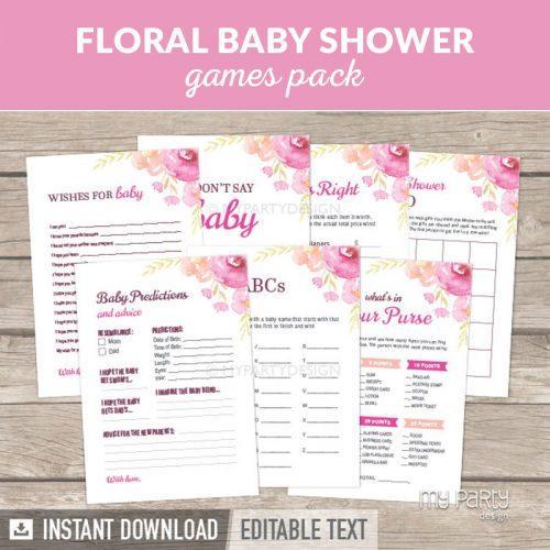 Floral Baby Shower Games Printables