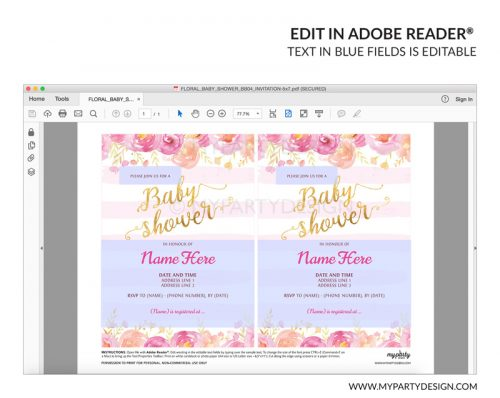 pink floral baby shower party invitation - editable printable invite