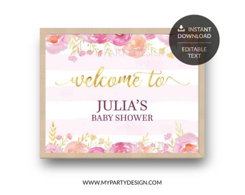 pink floral baby shower welcome sign