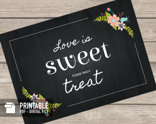 printable chalk floral love is sweet sign