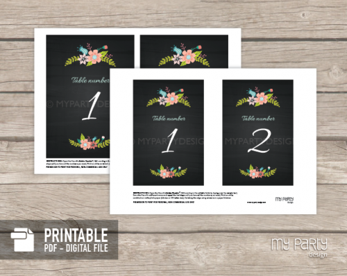 printable chalk floral table numbers for bridal shower or wedding