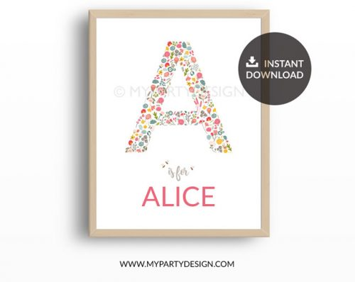 Name print nursery art for girl, floral letter A