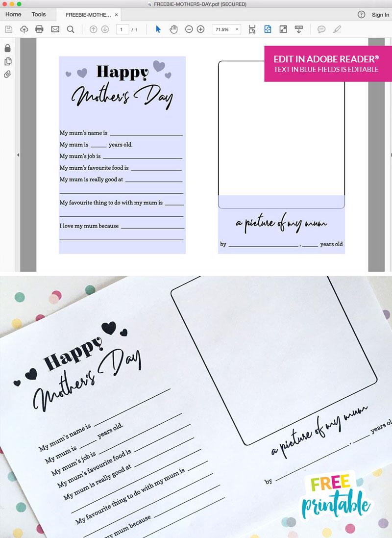 editable mothers day quiz