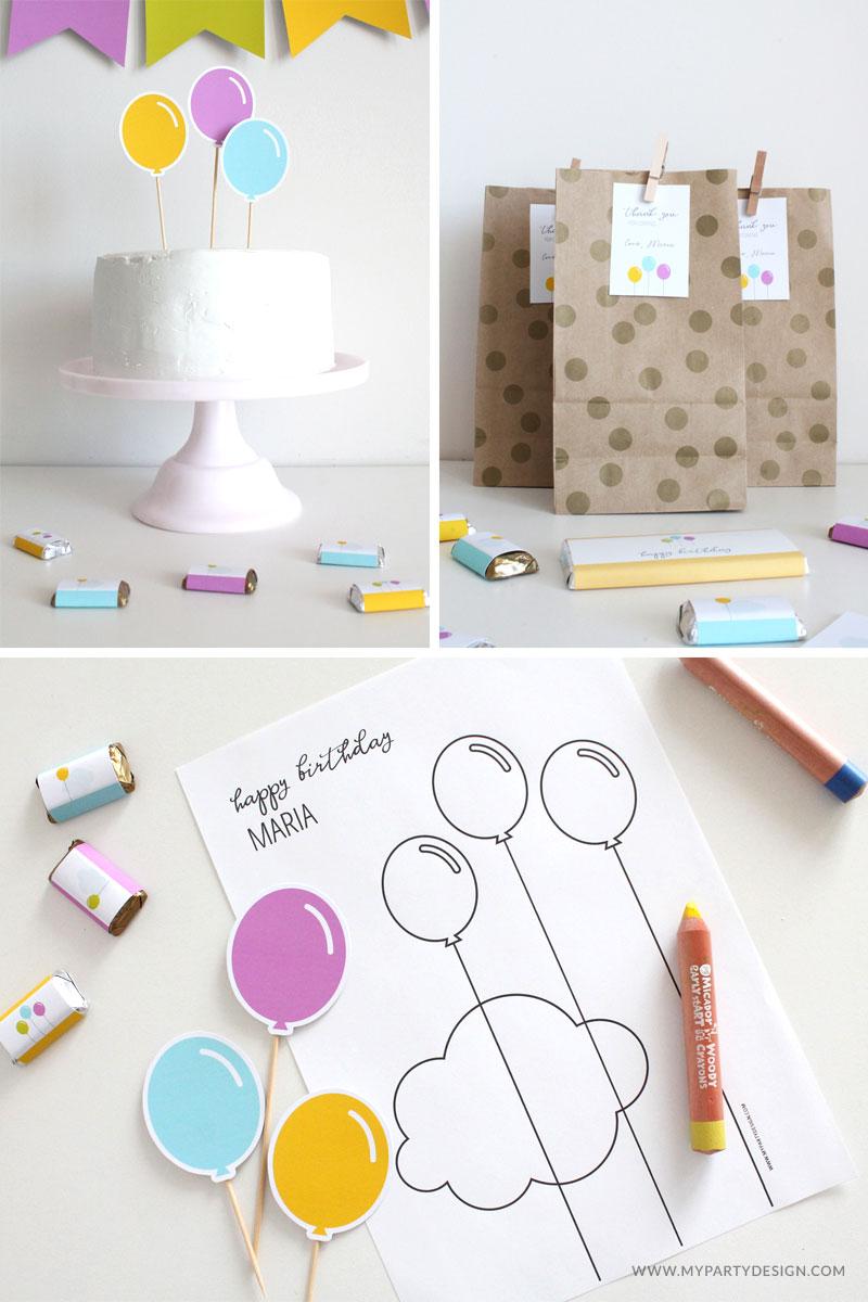 free birthday printables - balloon party