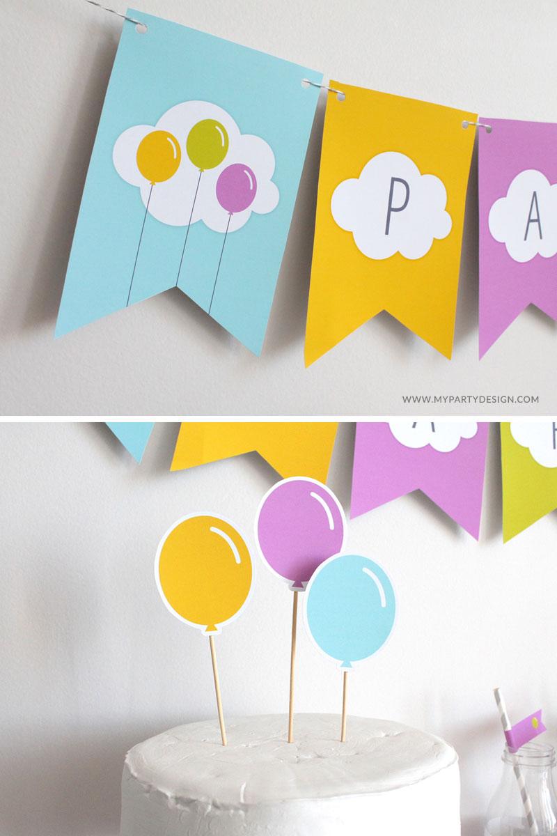 free printable birthday banner and cake topper - Balloon theme