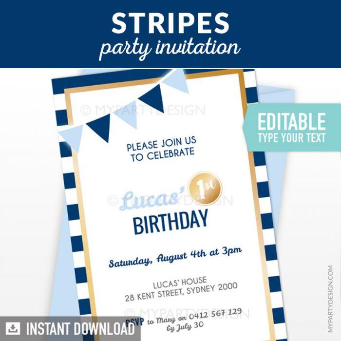 Navy and Gold Birthday Invitation