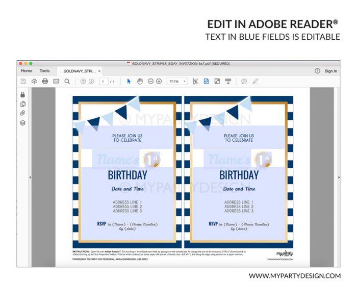 blue stripes party invitation - editable printable invite