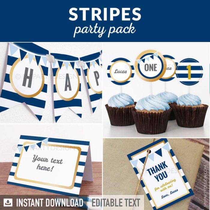 blue stripes party decoration printables