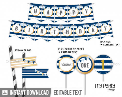 Printable party pack with navy and white stripes