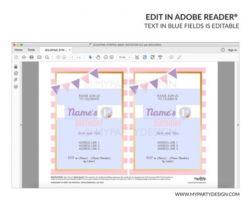 pink stripes party invitation - editable printable invite