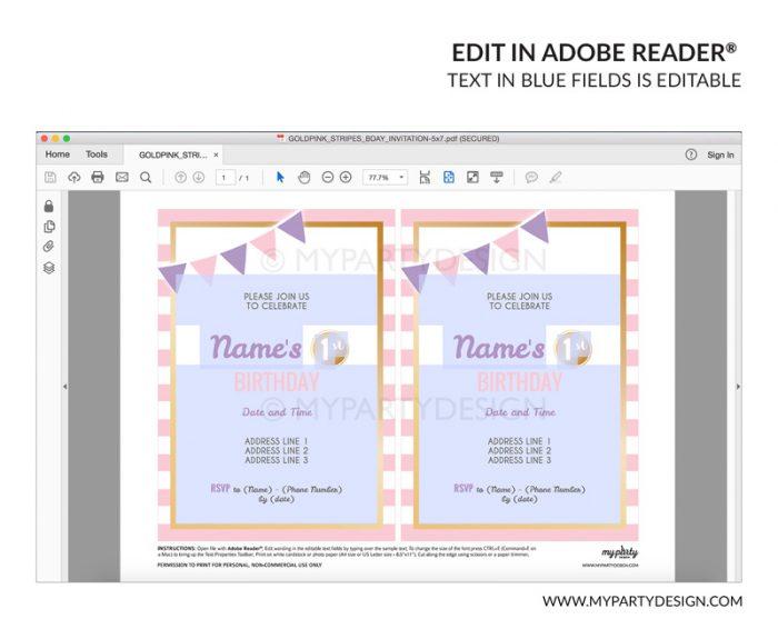 pink stripes party invitation - editable printable invite