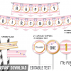 Printable party pack with pink and white stripes