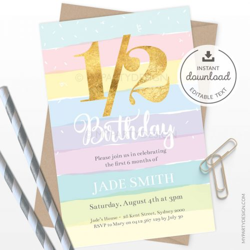 Half birthday invitation for a baby's 6 months celebrations