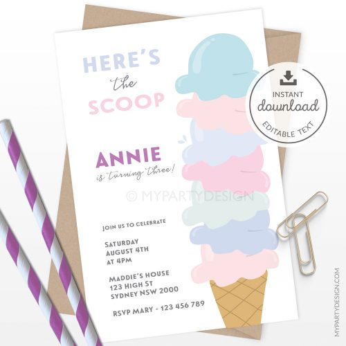 Ice Cream Party Invitation for a girl's birthday