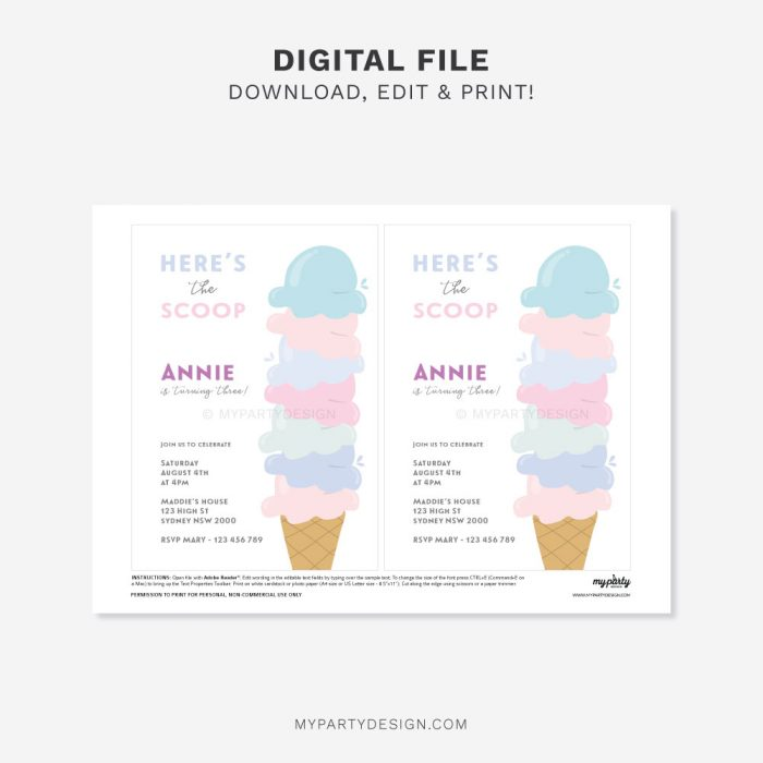 printable Ice Cream Party Invitation for a girl's birthday